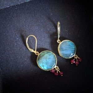 Labradorite earrings with 18k gold & small rubies